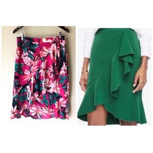 Ann Taylor Ruffled Pencil Skirt in Floral